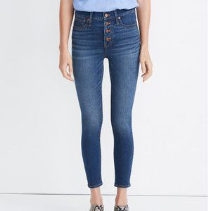 """9"""" Mid-Rise Skinny Crop Jeans: Button-Front TENCEL"""